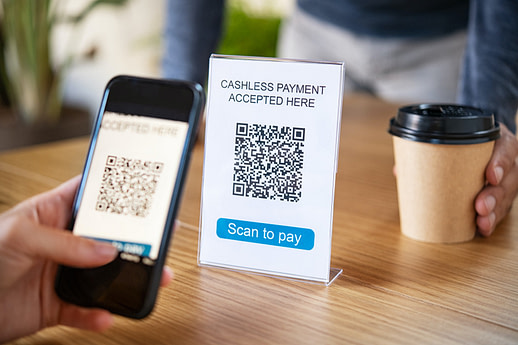Qr code digital payment at coffee shop